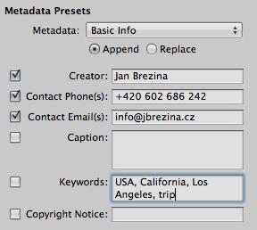 Aperture Metadata Presets