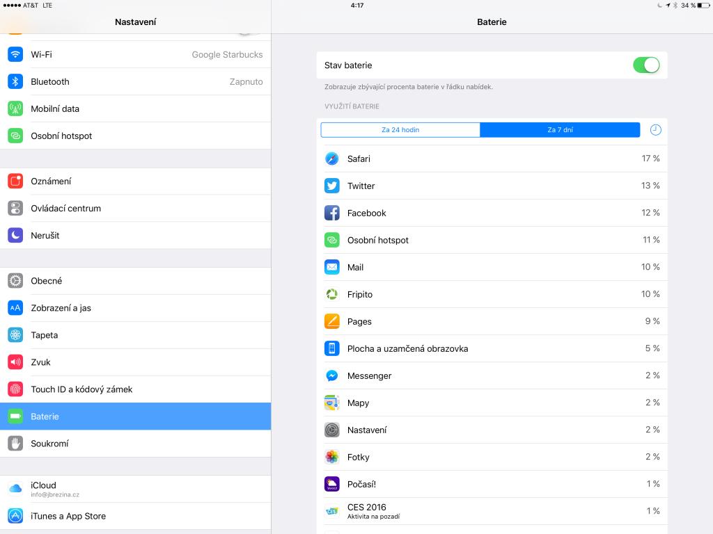 Spotřeba iPadu Pro
