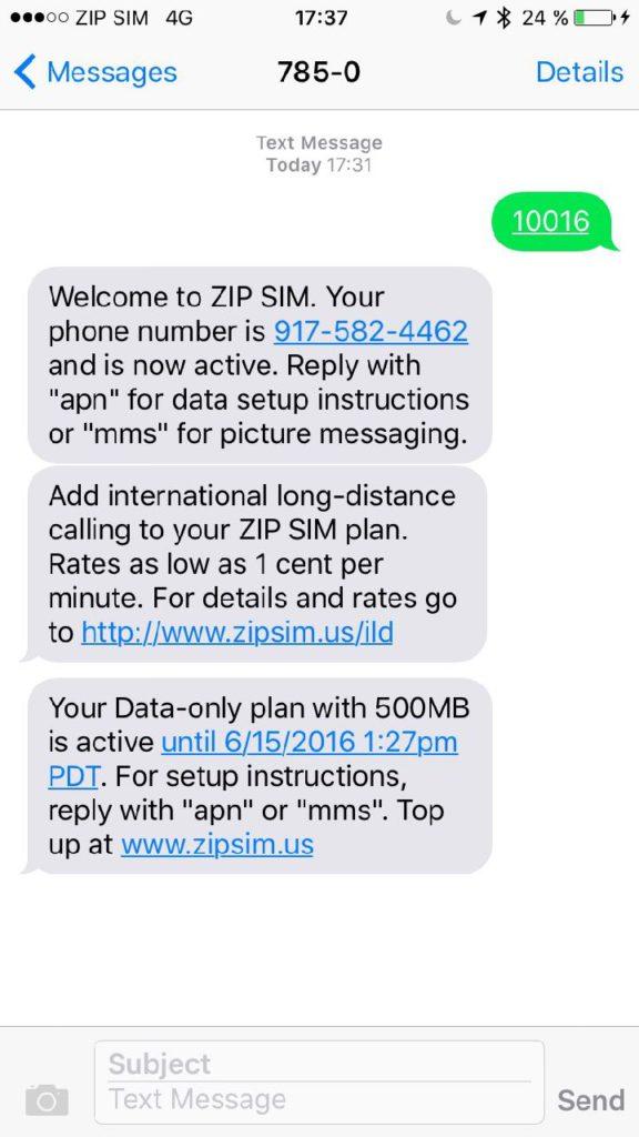 ZIP SIM aktivace