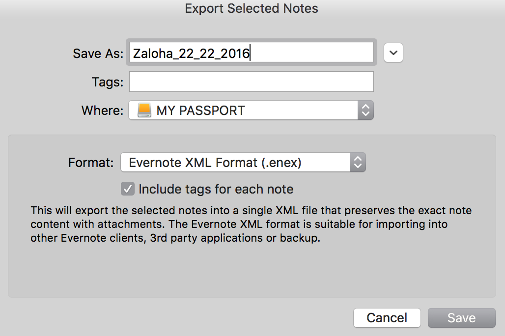 Evernote Export