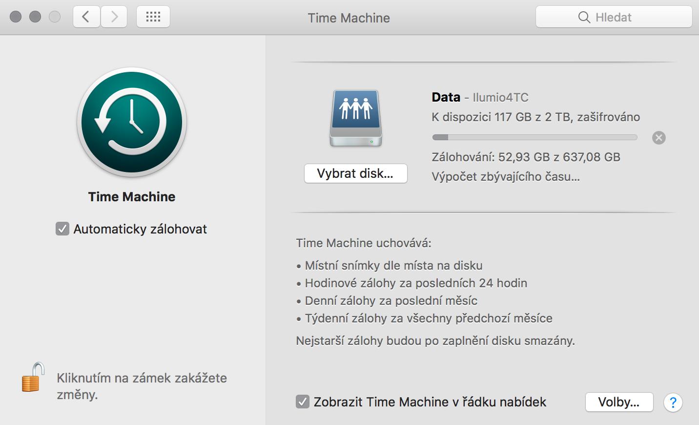 Záloha pomocí Time Machine