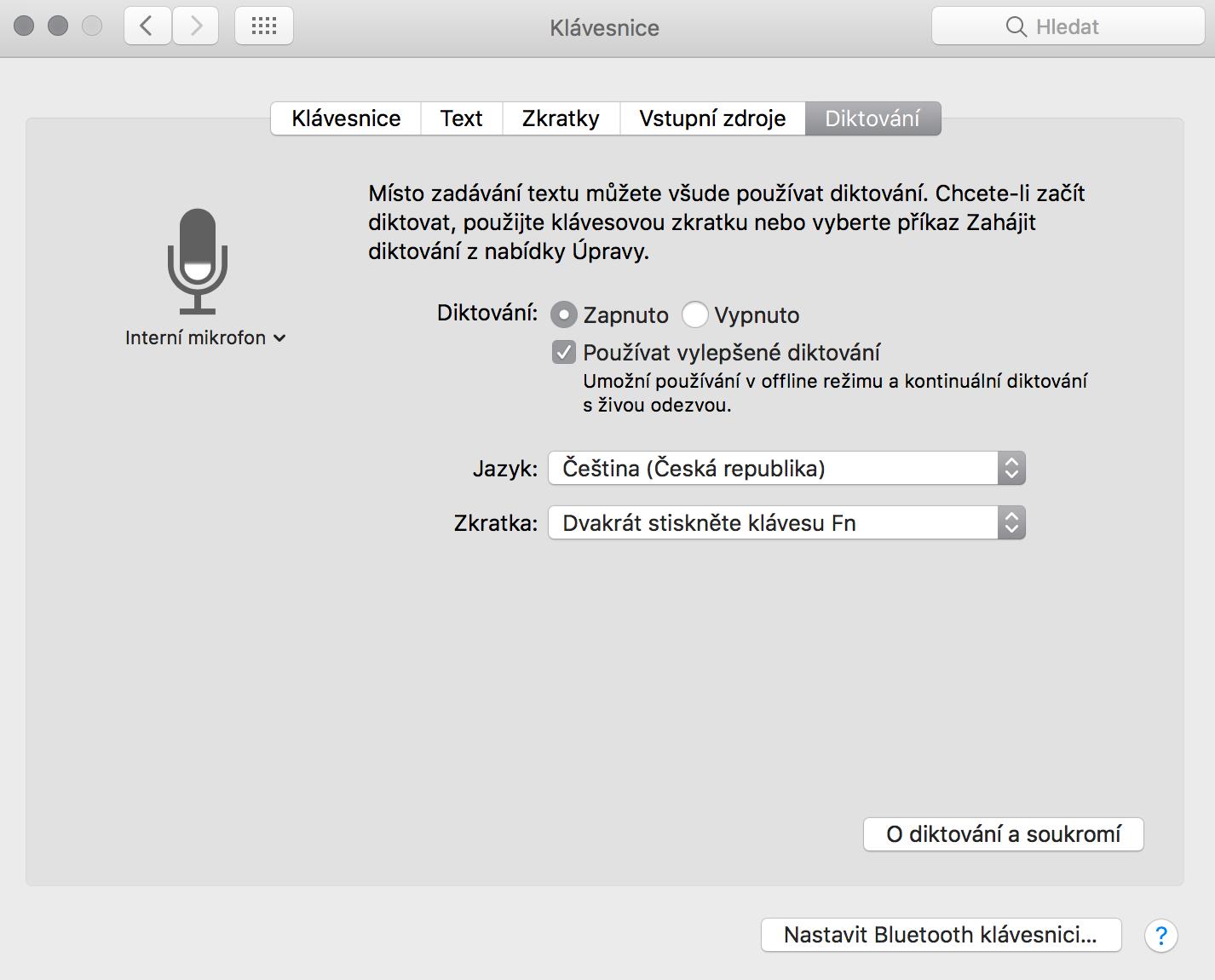 Diktování v MacOS Sierra