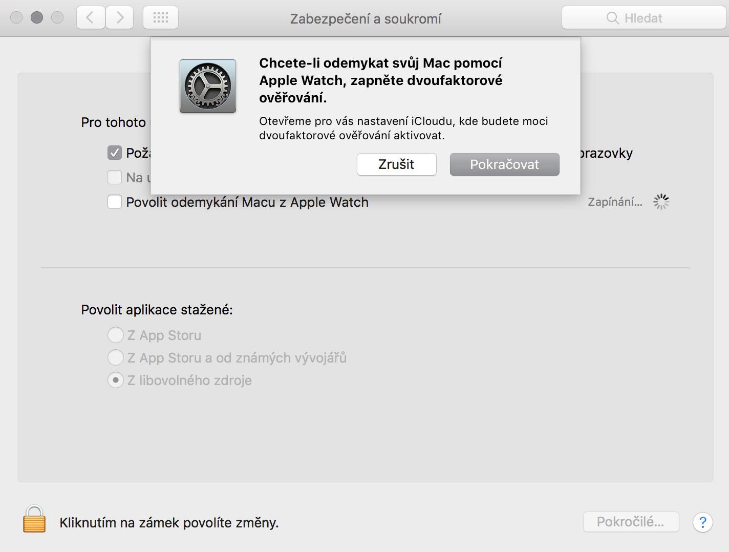 Odemkání Macu pomocí Apple Watch