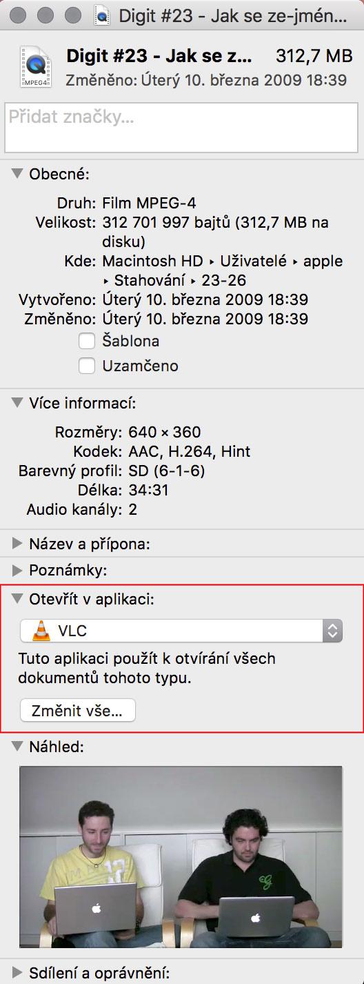 Změna aplikace pro typ souboru na Macu