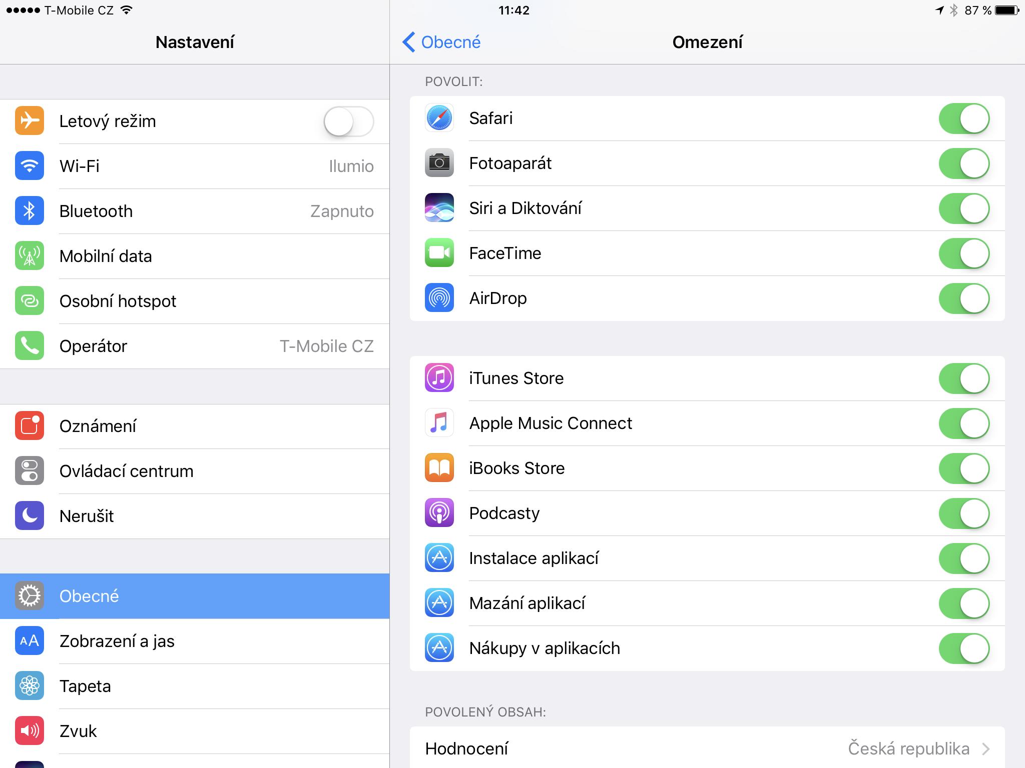 Omezení v iOS