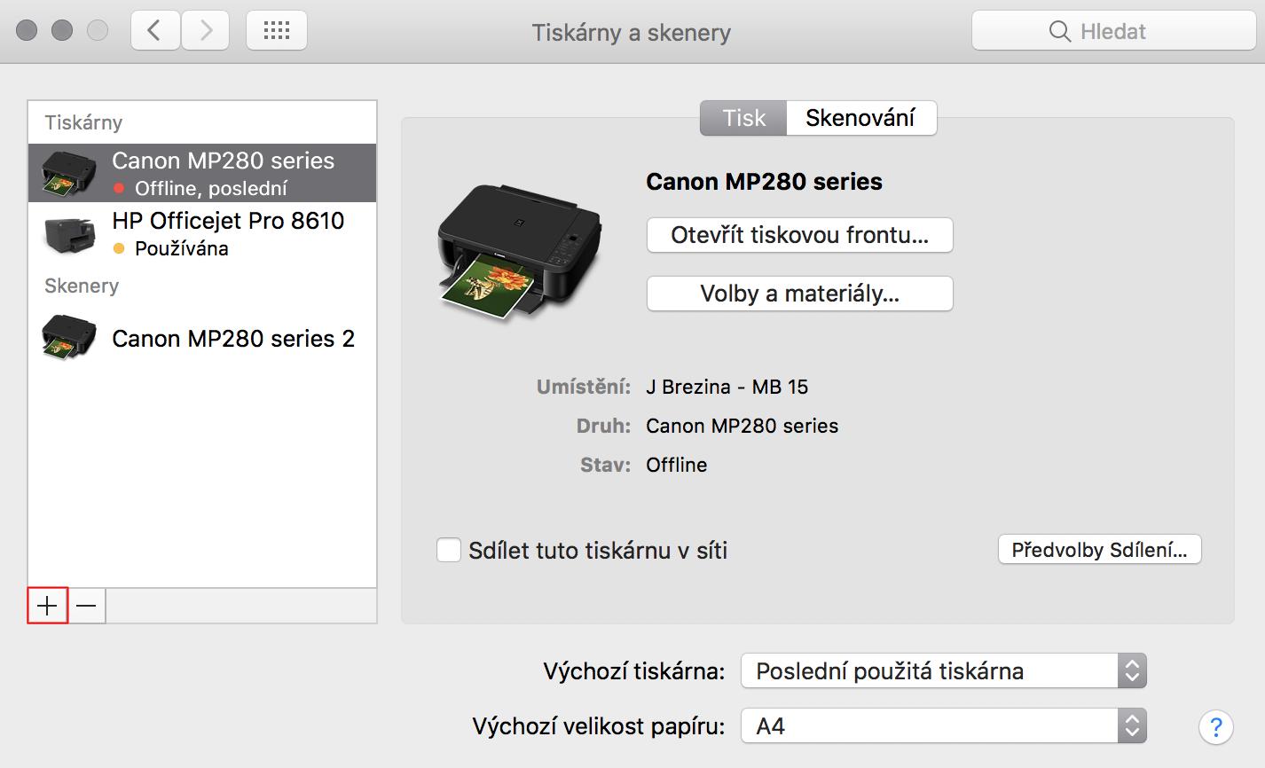 Instalace tiskárny na Macu