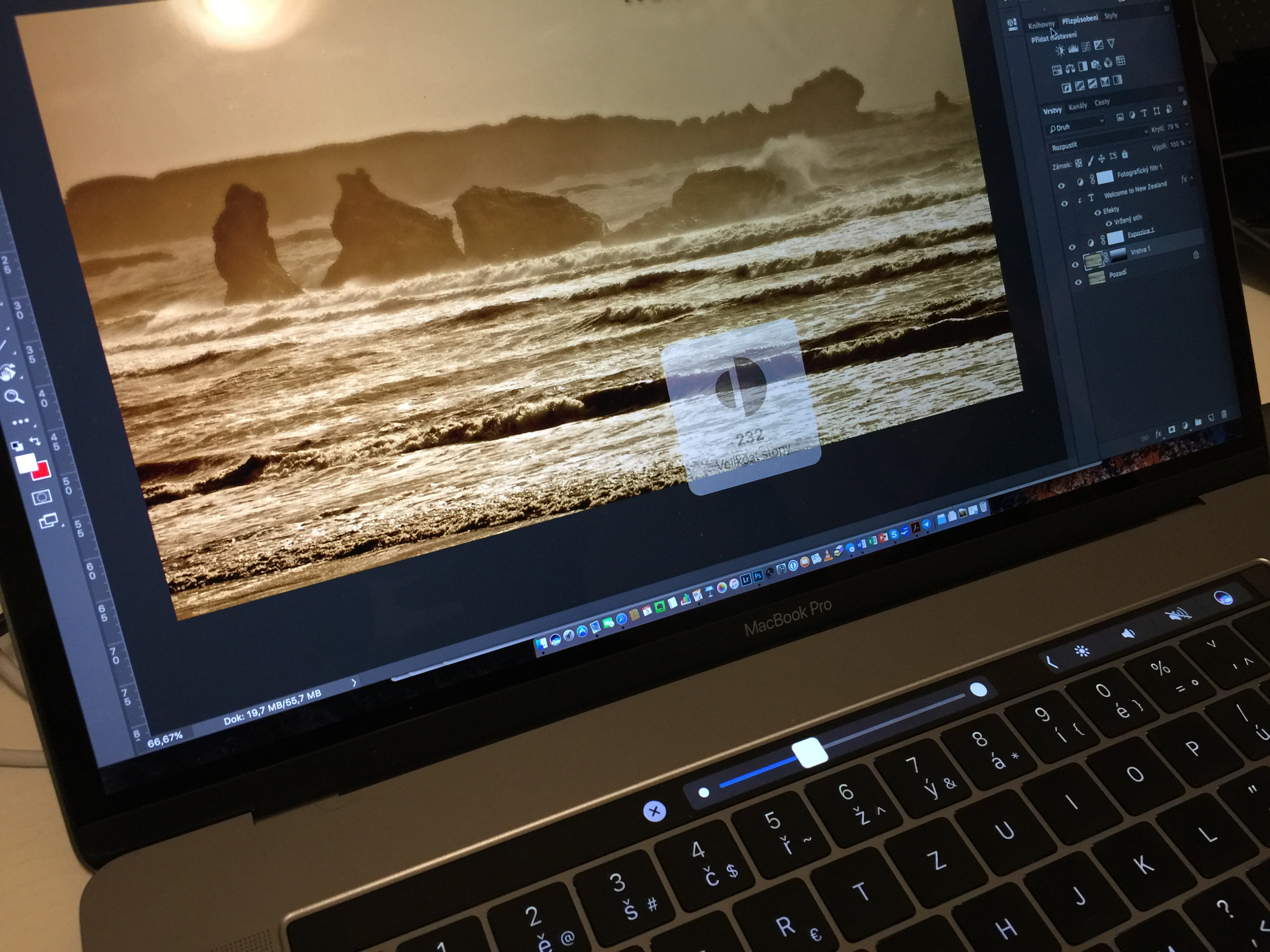 Touch bar v Adobe Photoshopu