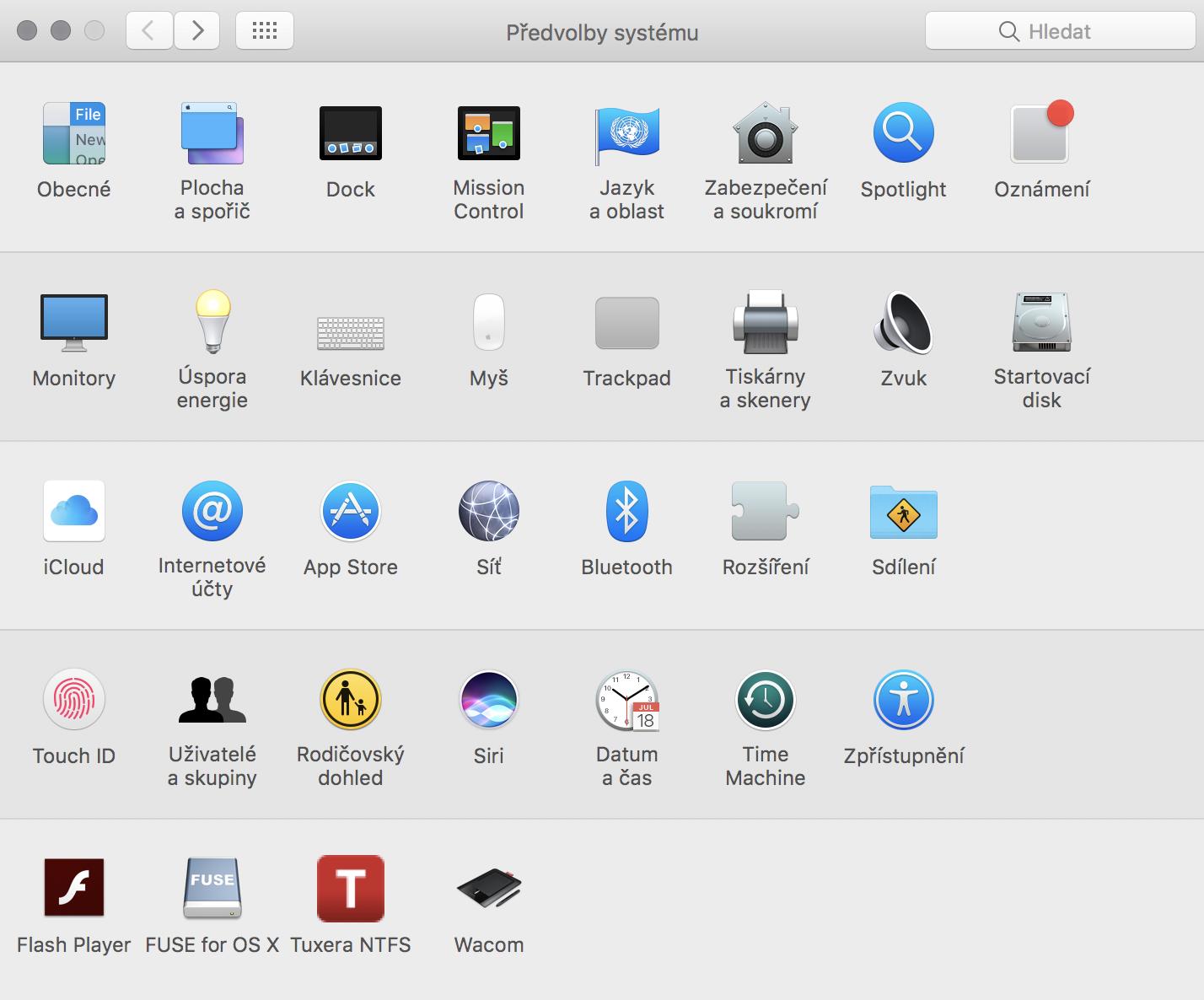Předvolby systému Mac OS
