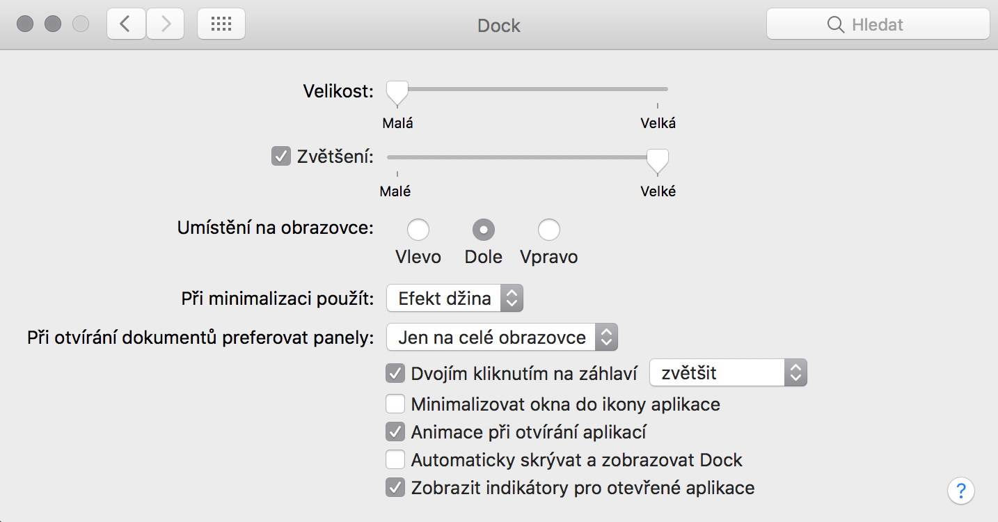 Nastavení Docku