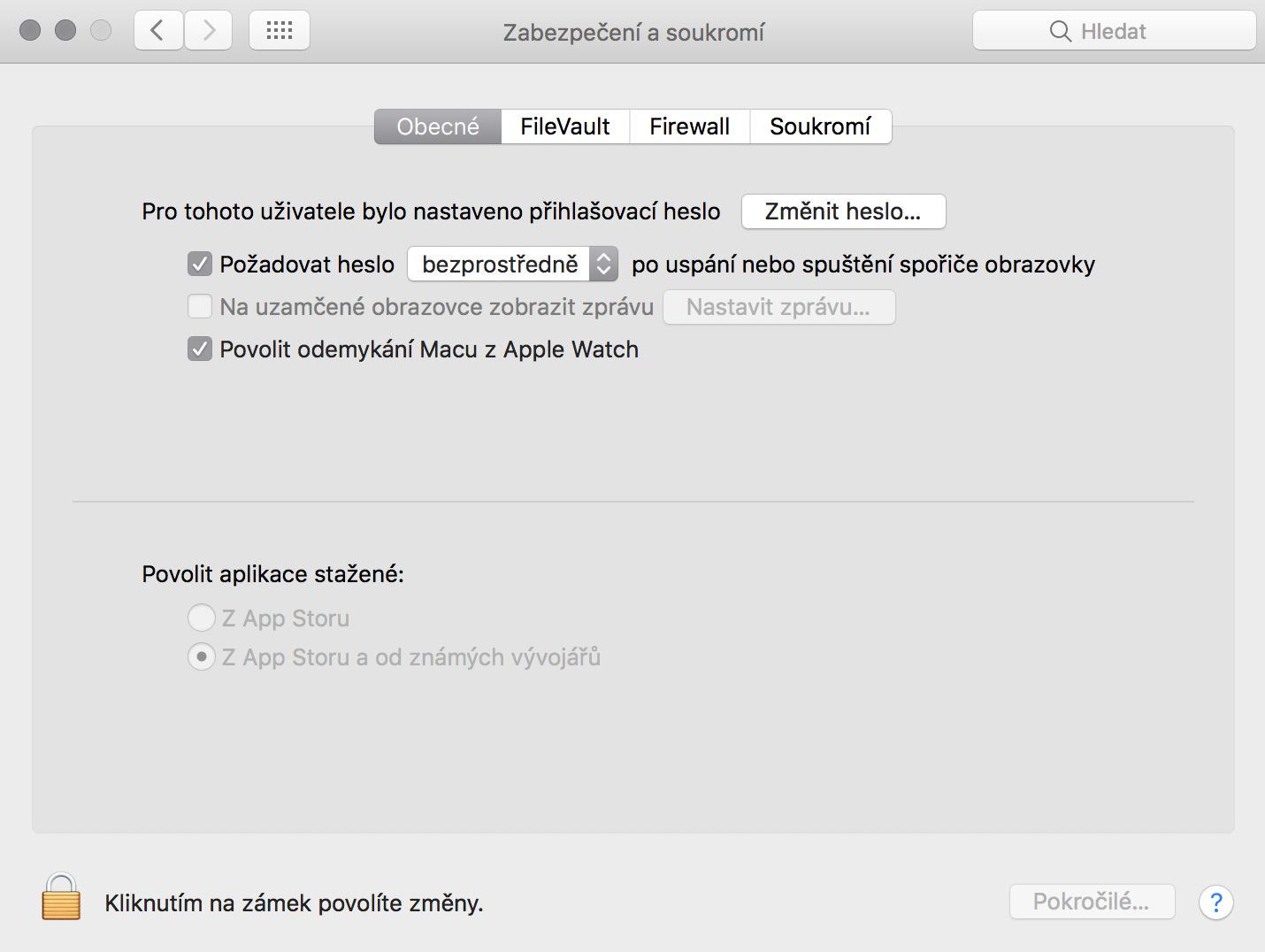 Odemykání Macu pomocí AppleWatch