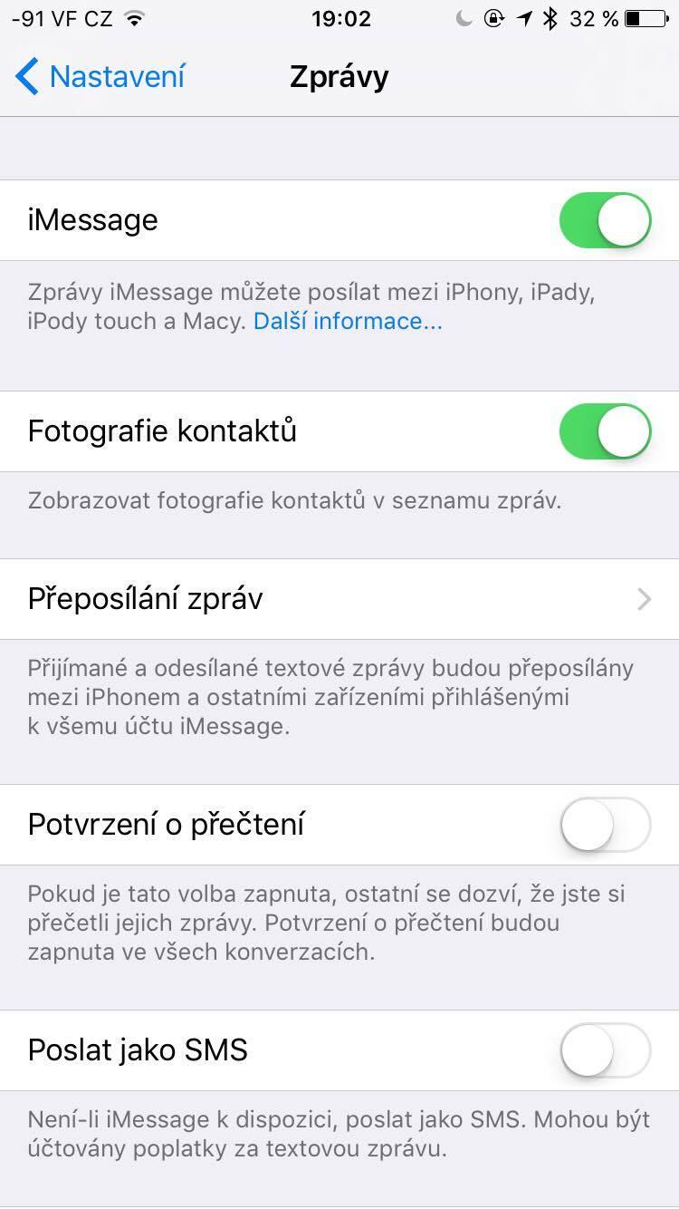 iOS10 nastavení zpráv
