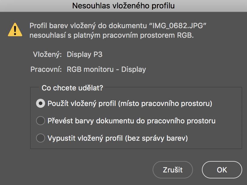 Nesoulad barevných profilů v Adobe Photoshopu