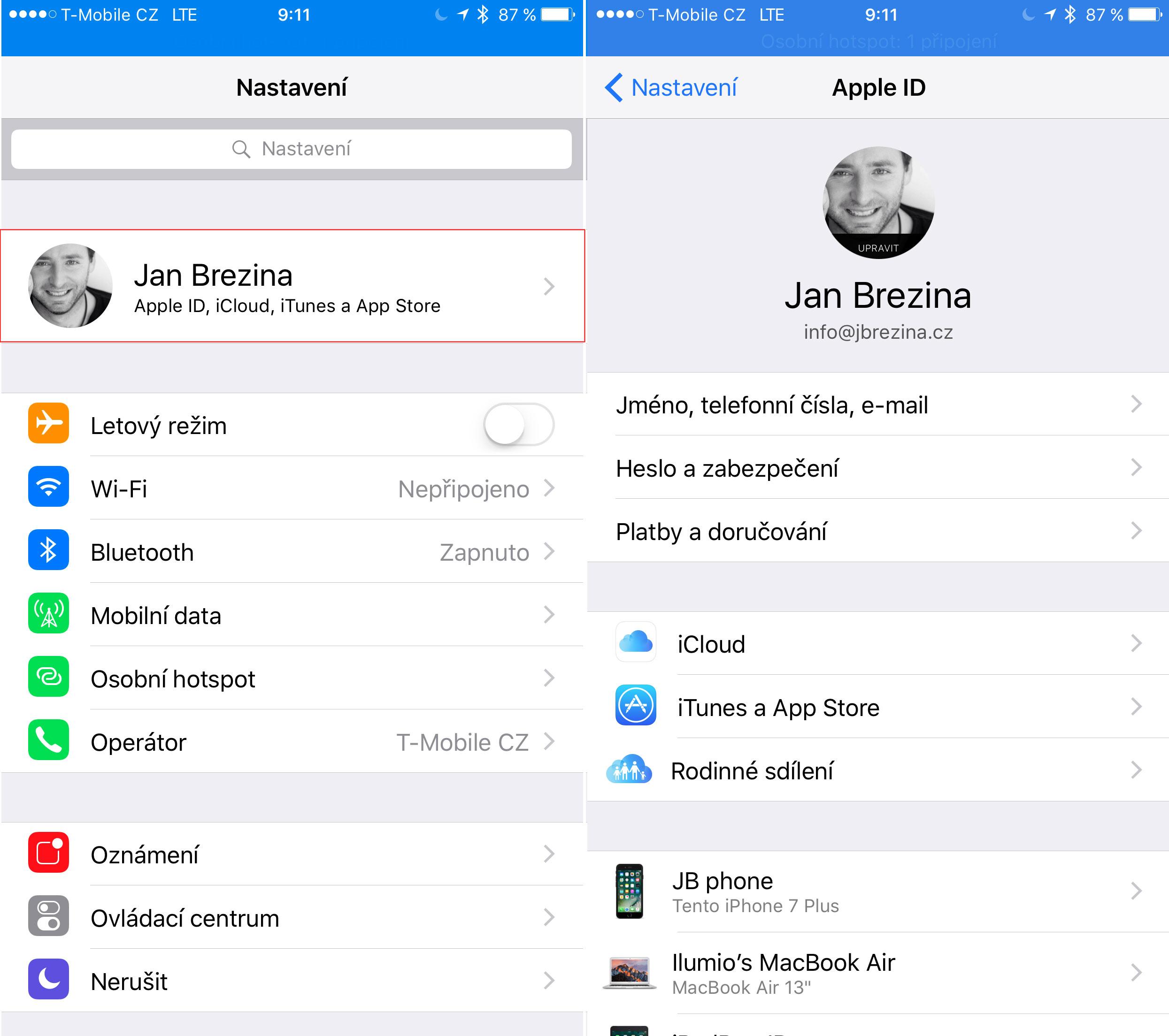 iOS10 nastavení iCloudu