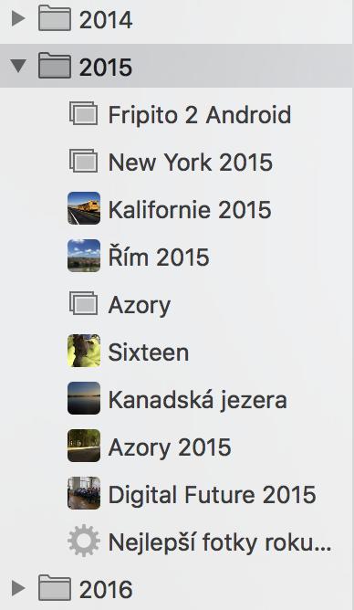 Apple Fotky - Složky
